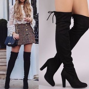 Over The Knee Black Faux Suede Boot